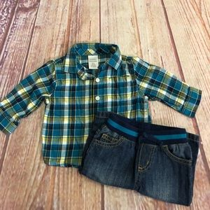 Gymboree flannel and denim outfit 3/6M